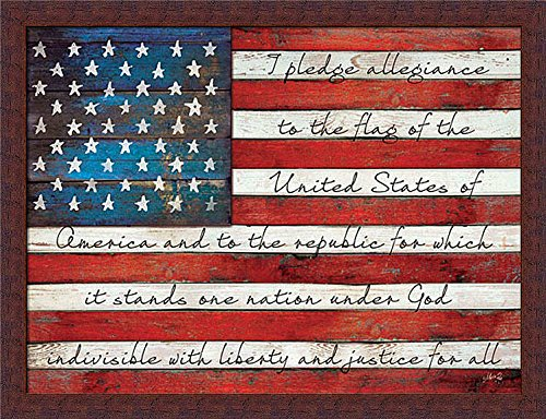 Pledge of Allegiance Liberty and Justice for All American Flag Framed Art Print Wall Decor Picture
