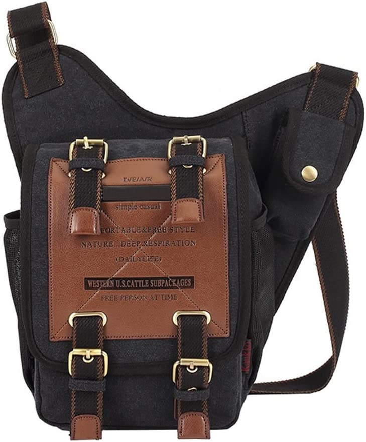 VRIKOO Retro Casual Canvas Chest Crossbody Bag Outdoor Sports Military Shoulder Messenger Bag Patchwork Sling School Bags