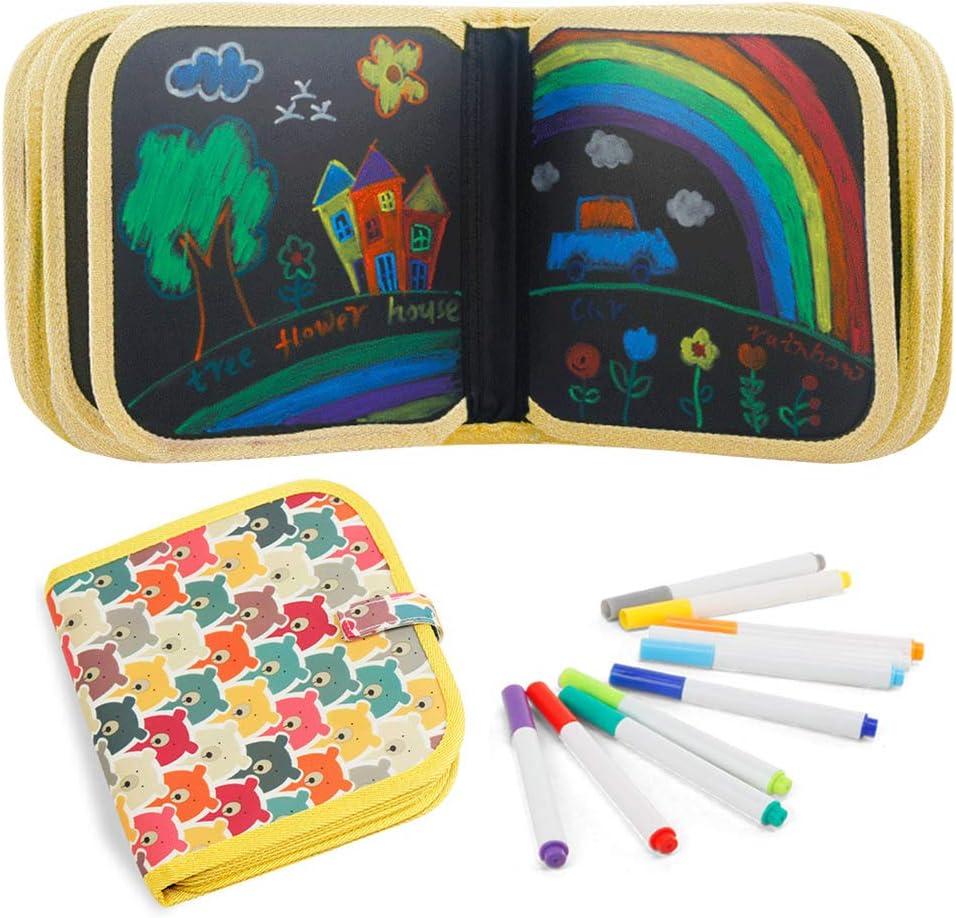 8 /× 8 Pouces 14Page Enfant Dessin Livre Peinture Ecriture Planche Scribble Boards Jouets Dessin Double Face avec 12 Stylos Effa/çables Color/és FOONEE Enfant Doodle Planches