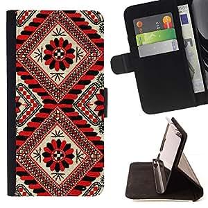 For Sony Xperia Z5 Compact Z5 Mini (Not for Normal Z5) Case , Líneas Patrón Rojo Negro floral blanca- la tarjeta de Crédito Slots PU Funda de cuero Monedero caso cubierta de piel