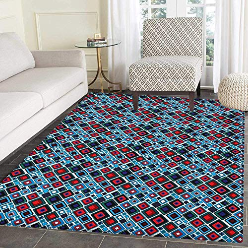 Retro Rugs for Bedroom Diagonal Squares of Different Sizes with Rounded Edges Geometrical Abstract Design Circle Rugs for Living Room 2'x3' Multicolor
