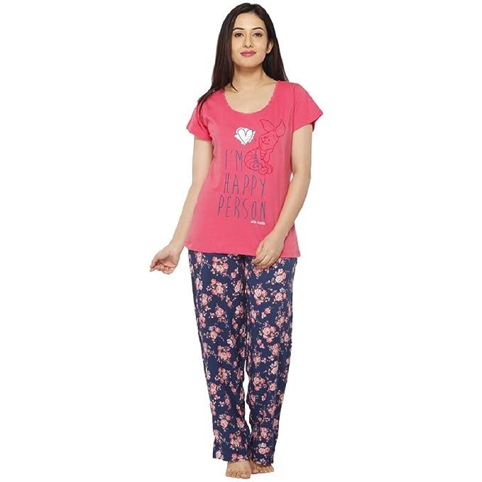 e99df417cc VIXENWRAP Punch Pink   Blue Floral Print Top   Pyjama Set(XXL Pink ...
