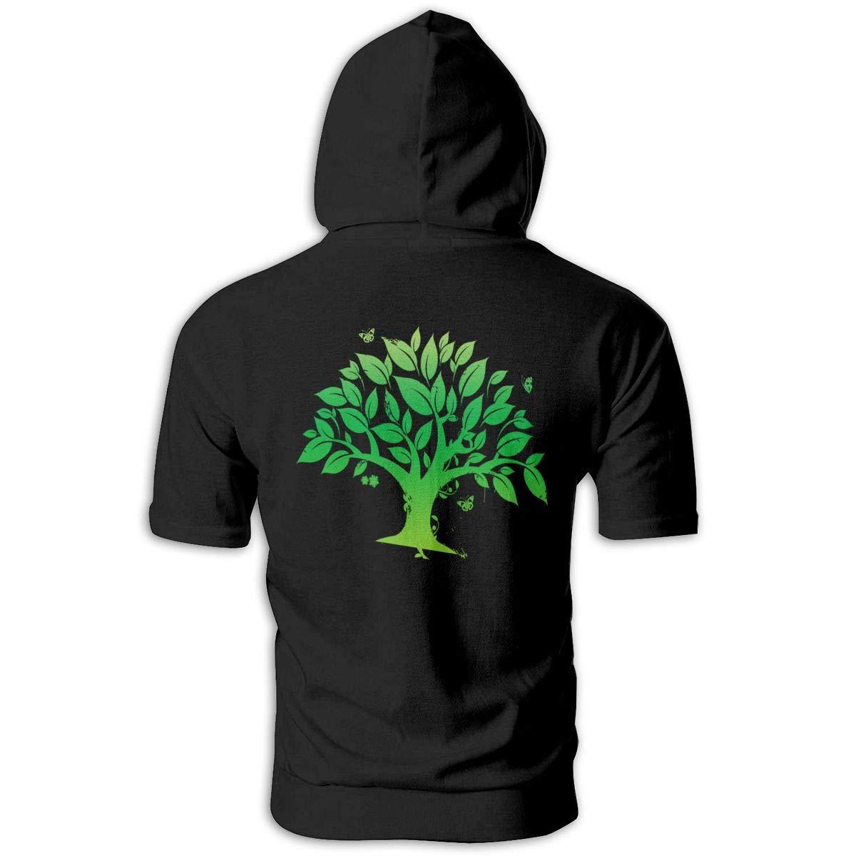 Mens Hoodies Green Tree Arbor Day Amazing Hooded Hoodie Short Sleeve Shirt