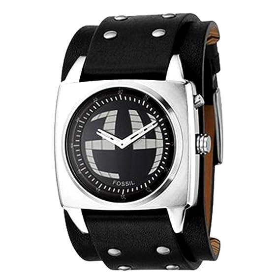 Fossil BG2190 - Reloj analógico y digital de cuarzo para hombre con correa de piel, color negro: Fossil: Amazon.es: Relojes
