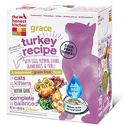 The Honest Kitchen Grace Grain Free Cat Food - Natural Human Grade Dehydrated Cat Food, Turkey, 4 lbs (Makes 12 lbs)