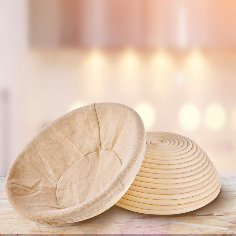 Haneye Proofing Rattan basket, 10 inch banneton Dough Bread Brotform Basket Sourdough Proofing Round shape Basket with removable lining for Home Bakers, 2 pack by Haneye (Image #4)