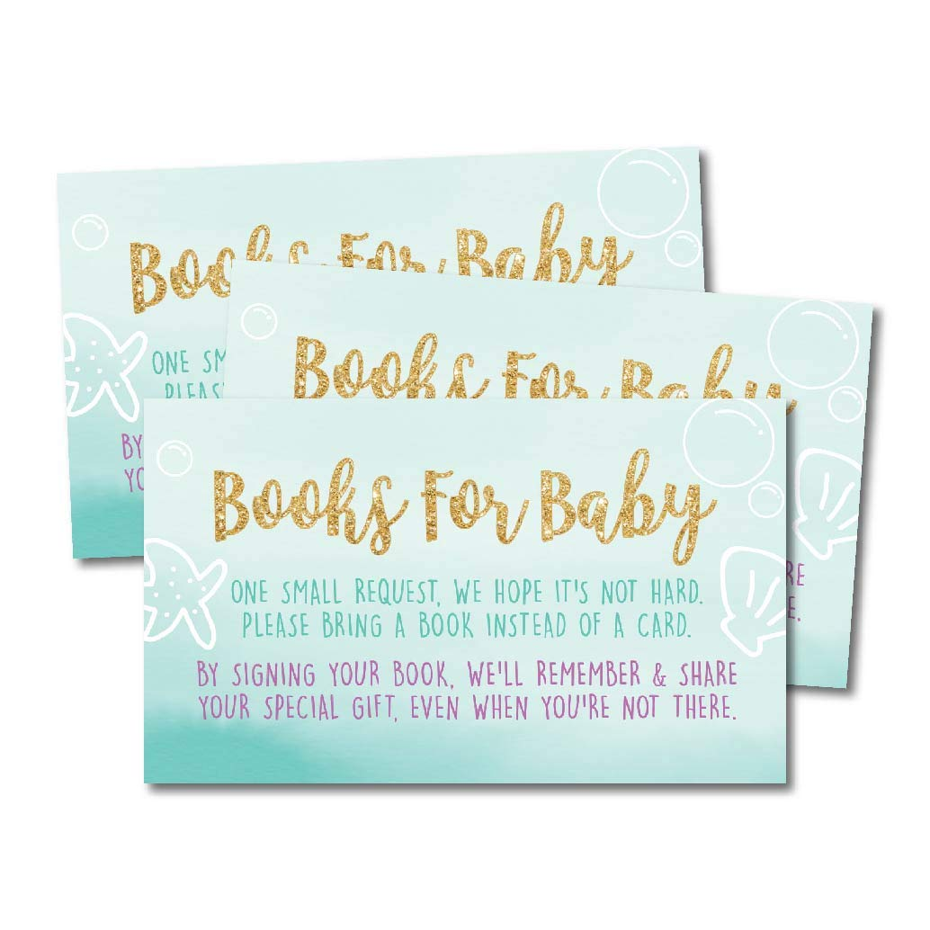 25 Mermaid Books For Baby Request Insert Card Girl Gold