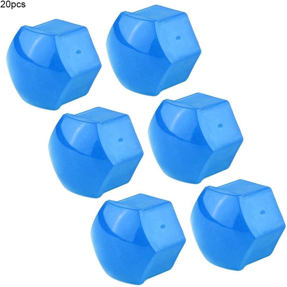 Qii lu 20pcs Tapas de tuerca de rueda de coche Tapa de tornillo de cubo autom/ático Llantas de perno Protecci/ón exterior con herramienta de extracci/ón Clip negro 19 mm Azul