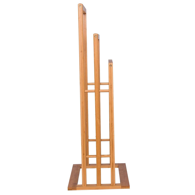 WOLTU BZ4127 Portasciugamani da Terra Autoportante Supporto per Ascigamani con 3 Aste Scaffale in bamb/ù Bagno Mensole Doccia Portaoggetti Moderno