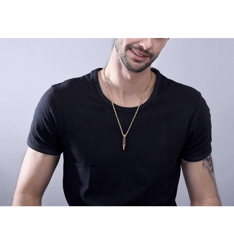 monicaexclusive Bullet Skull Necklace Men Punk Rock Biker Stainless Steel Jewelry Choker Accessories 55cm Water-Wave Chain