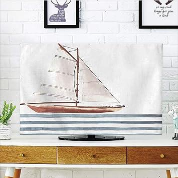 VANKINE - Funda para televisor LCD, multiestilo, náutico, elementos marinos, propiedades nostálgicas, viento caído bajo viaje alrededor del concepto mundial, color beige, rojo, diseño personalizable compatible con televisor de 65 pulgadas: Amazon.es: