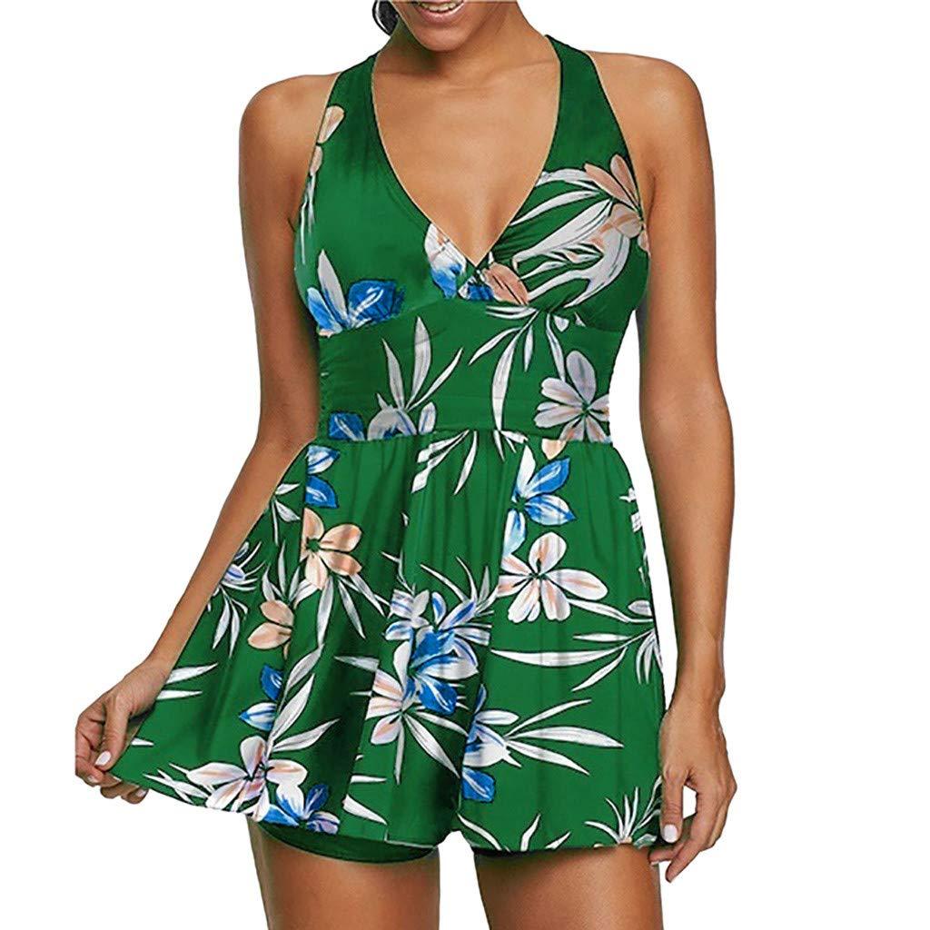 LIMITA Bademode Badeanzug Damen Plus Size Blumenmuster Swimsuit Retro Vintage High Waist Bikini Set Übergröße Oversize Swimwear Bauchweg