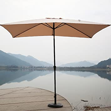 C Hopetree 6u00276u0026quot;x10u0027 Rectangular Patio Umbrella, Outdoor Market Umbrella