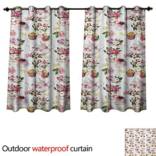 (WilliamsDecor Shabby Chic Outdoor Ultraviolet Protective Curtains Roses Shabby Chic Design Vintage Teapots Flowers Leaves Cakes Lemon Art Print W108 x L72(274cm x 183cm))