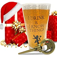I Drink and I Know Things Beer Glass + FREE Hand Of The King Bottle Opener Made In Casterly Rock – Game Of Thrones Inspired – With White Gift box included by Desired Cart