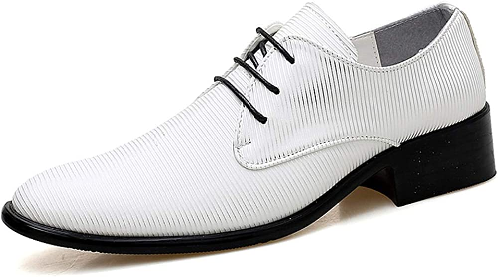 Color : White, Size : 9 D US Comfortable Wearable Soles Convenient M Comfortable Mens Oxford Shoes Mens Formal Shoes with Style Personality Texture Pointed Shoes