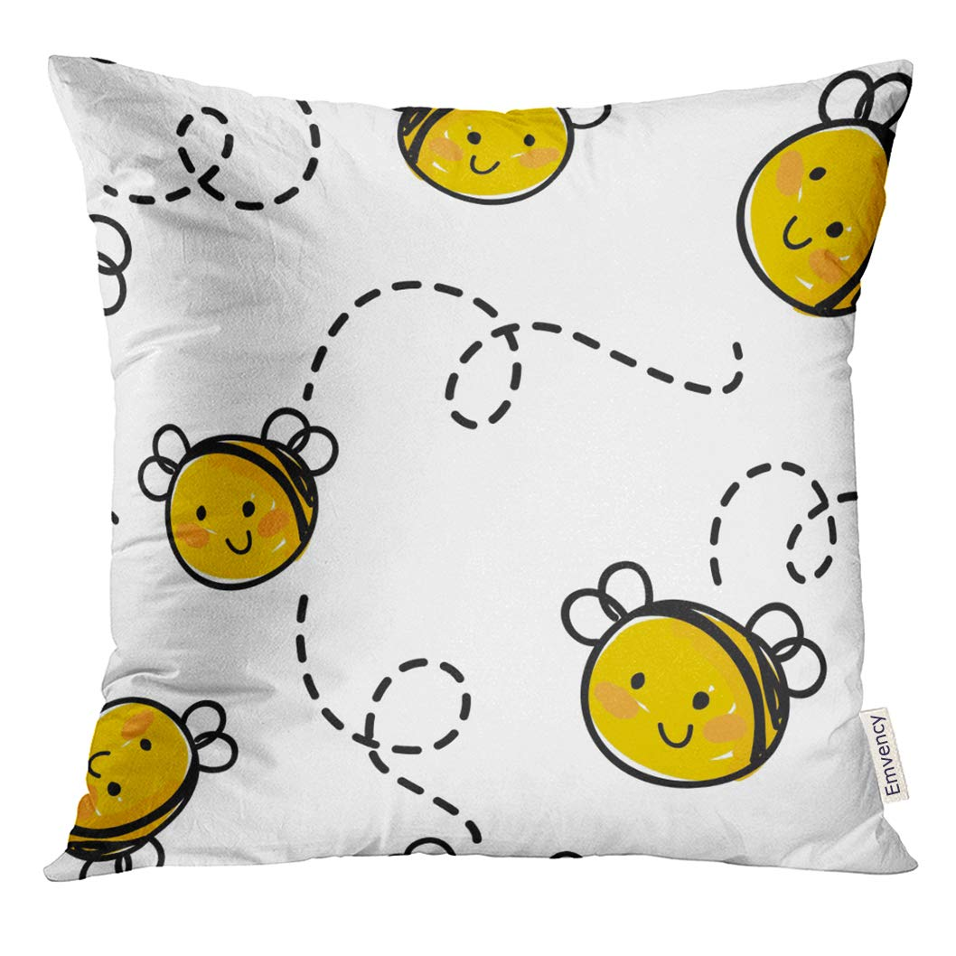 goleeスロー枕カバーホワイトBaby Bee Honey Flying Happy装飾枕ケースホーム装飾正方形枕 18 x 18 inches ゴールド 18 x 18 inches B079WDHBZJ