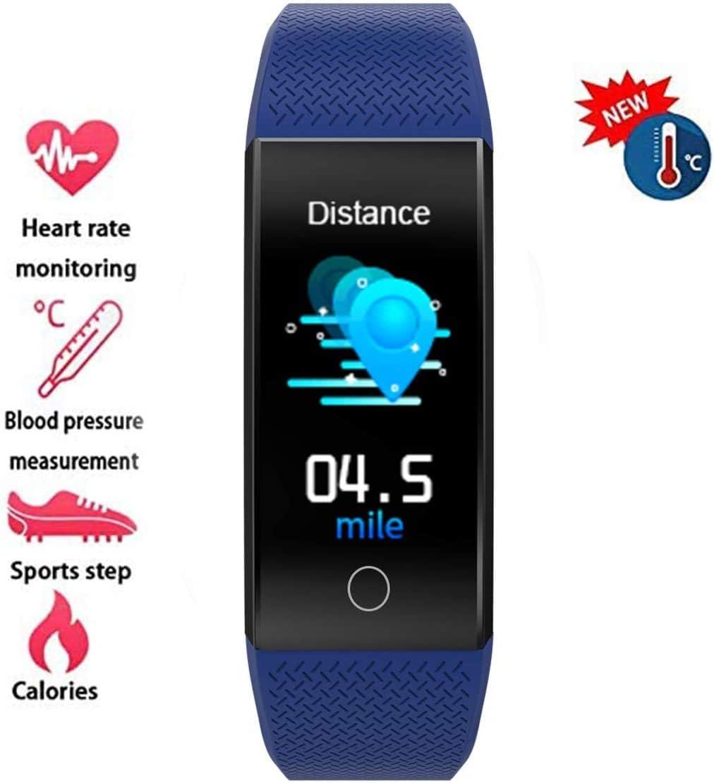 YUN Clock@ Impermeable IP68 Fitness Tracker Medición Termómetro Reloj Inteligente Rechazar Llamada Podómetro con Pulsómetro Y Presión Arterial Registro De Seguimiento GPS Registro Deportivo