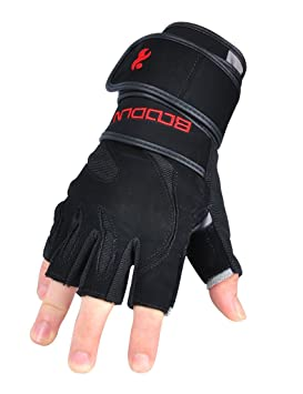 2-fitness Mujer Hombre guantes de levantamiento de peso con muñequera de 45 centímetros: Amazon.es: Deportes y aire libre
