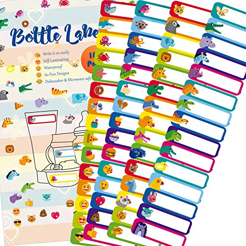 180 Pcs Baby Bottle Labels for Daycare, Waterproof, Self-Lamination, Write-on, Fun Design