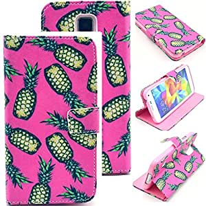 Leather Galaxy S5 Case,Galaxy S5 Leather Case,Leather Galaxy S5 Case Wallet,Galaxy S5 Leather Pouch,Candywe Cartoon Print Style Wallet Leather With Stand For Samsung Galaxy S5 I9600 For Girls For Boy 019
