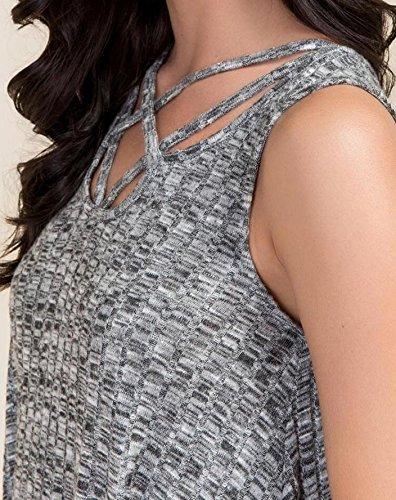 Damen Freizeitkleid Minikleid Tanktops Die Neue Kurz V-Ausschnitt Ärmellos Mit Rippstruktur Loose Pastell Atmungsaktiv