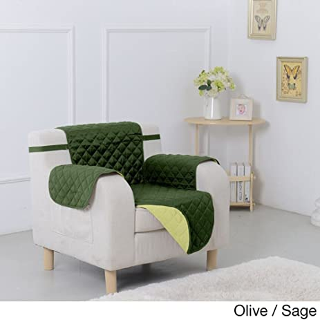 Lovely Two Tone Reversible Furniture Pet Protector Sage/ Olive   Chair