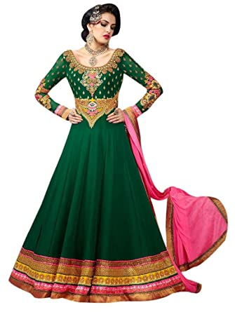 7aeae45f65 Stylelok Green Georgette Unstitched Anarkali Suit Sl 1517010: Amazon.in:  Clothing & Accessories