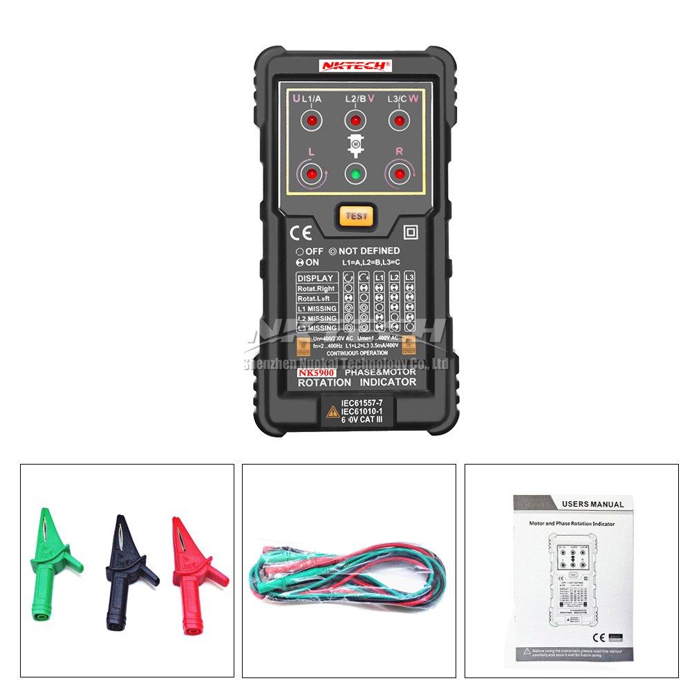 multimetro digitale con LED sistema di misurazione del campo magnetico Nktech NK5900/Indicatore di sequenza di fase per sistemi a 3 fasi
