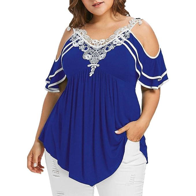Mujer Manga Corta Camiseta Blusas Tops para Mujer Fiesta en la Playa, blusas para gorditas