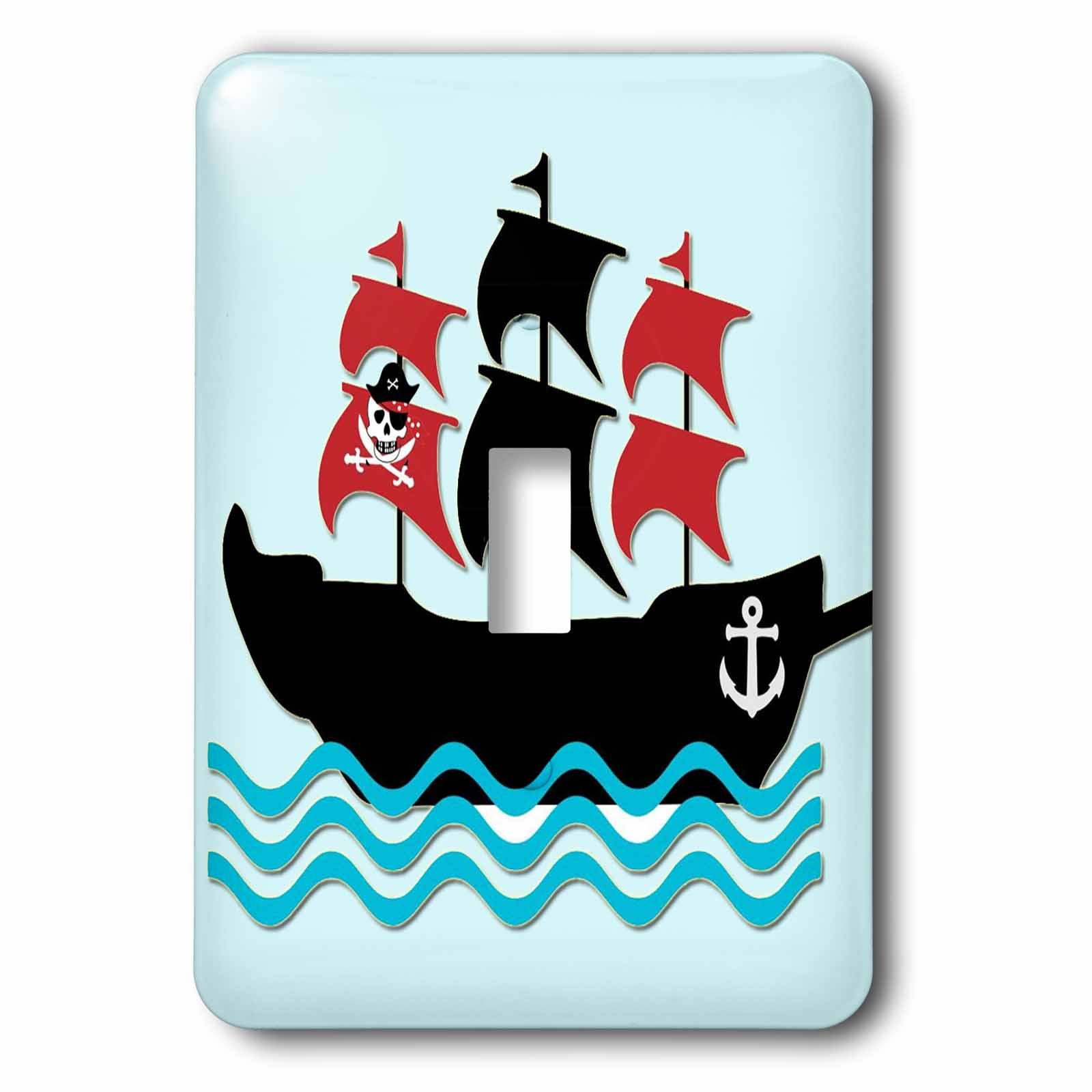 3dRose lsp_224466_1 Pirate Boat. Kids Décor. Blue. - single Toggle Switch