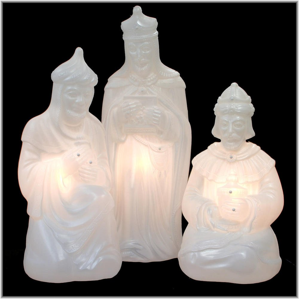 Lighted Plastic Wisemen for White Marble Nativity by General Foam (Image #1)