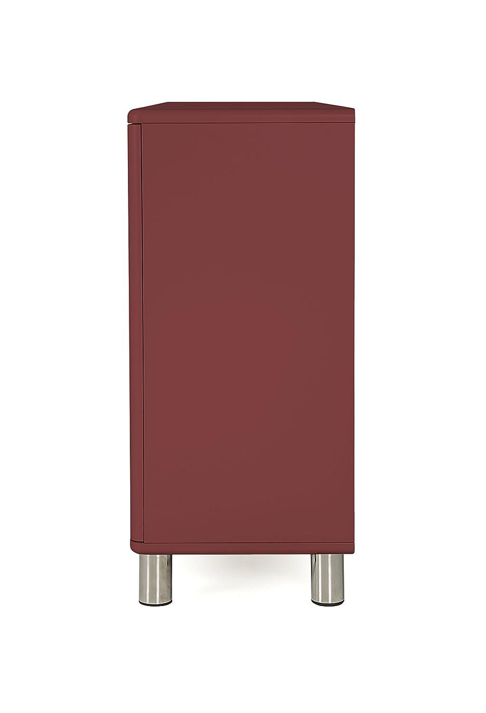 One Size Marsala 4 Schubladen MDF und Spanplatte Lackiert Tenzo Malibu Sideboard 2 T/üren