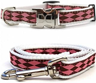 "product image for Diva-Dog 'Harlequin Pink' Custom Small Dog 5/8"" Wide Dog Collar with Plain or Engraved Buckle, Matching Leash Available - Teacup, XS/S"