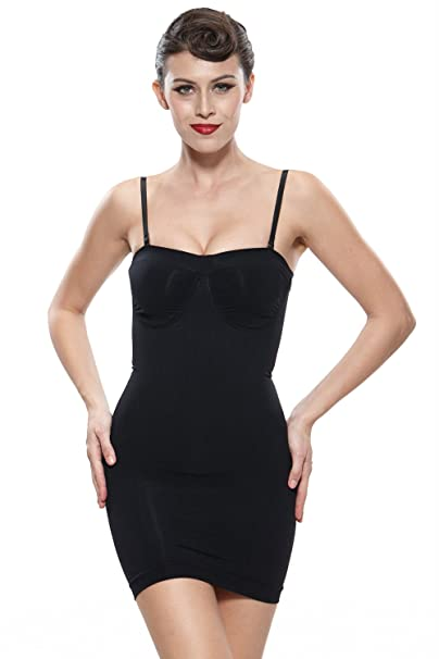d7c3f86c8a7ea Franato Women s Shapewear Slip Underwire Cups Firm Control Strapless Full  Slip Large Black