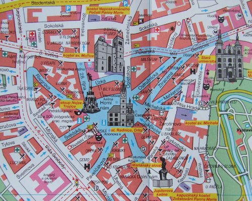 Olomouc 112 000 pln msta Stadtplan City map Czech Edition