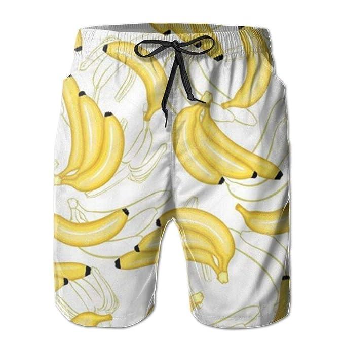 Aeykis Pantalones de Playa de Hombre con Estampado de plátano ...
