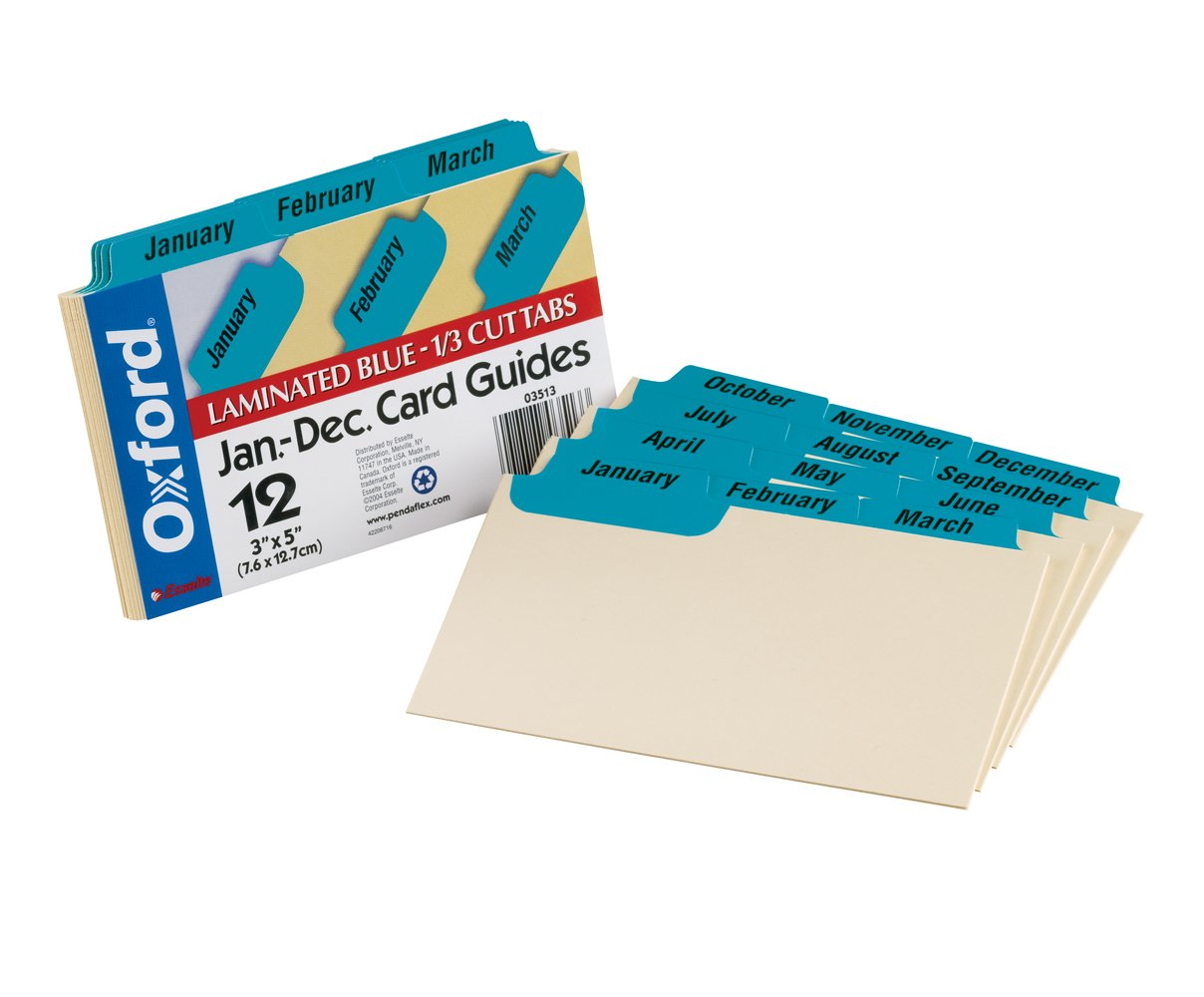 "Oxford Index Card Guides With Laminated Tabs, Monthly, January December, 3"" X 5"" Size, Blue, 12 Guides Per Set (3513) by Oxford"