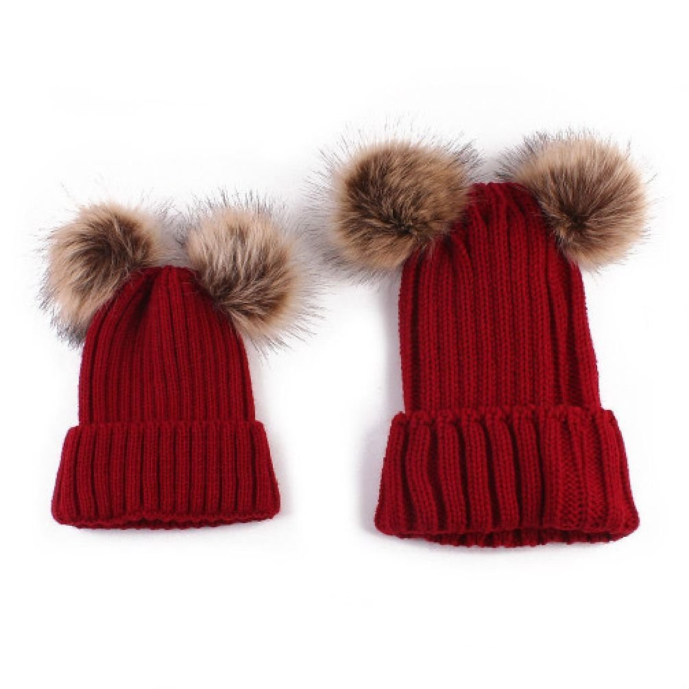 1PCS Mom Newborn Baby Warm Double Pompon Knit Hats Fur Pom Winter Crochet Cap Unbrand
