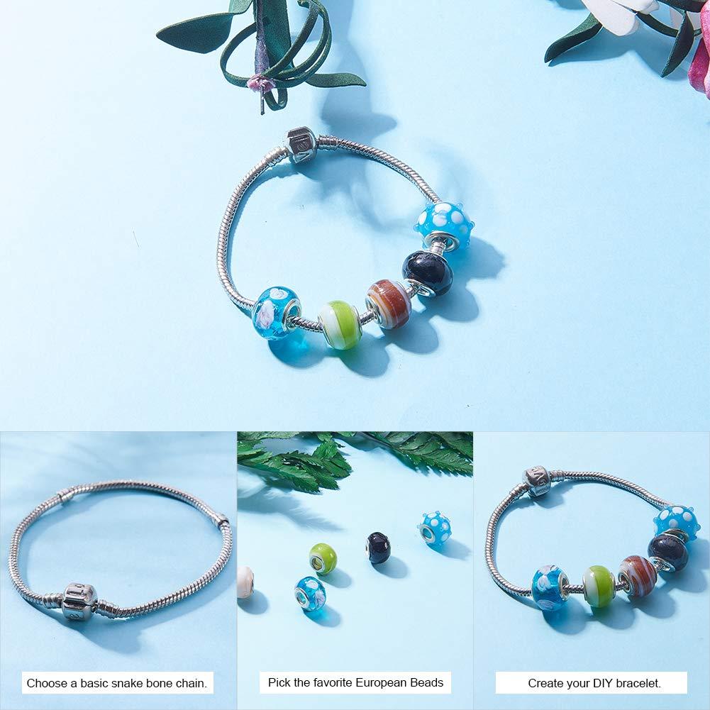 Silver cored bracelet bead coastal jewelry handmade lampwork large hole bead beige European style charm