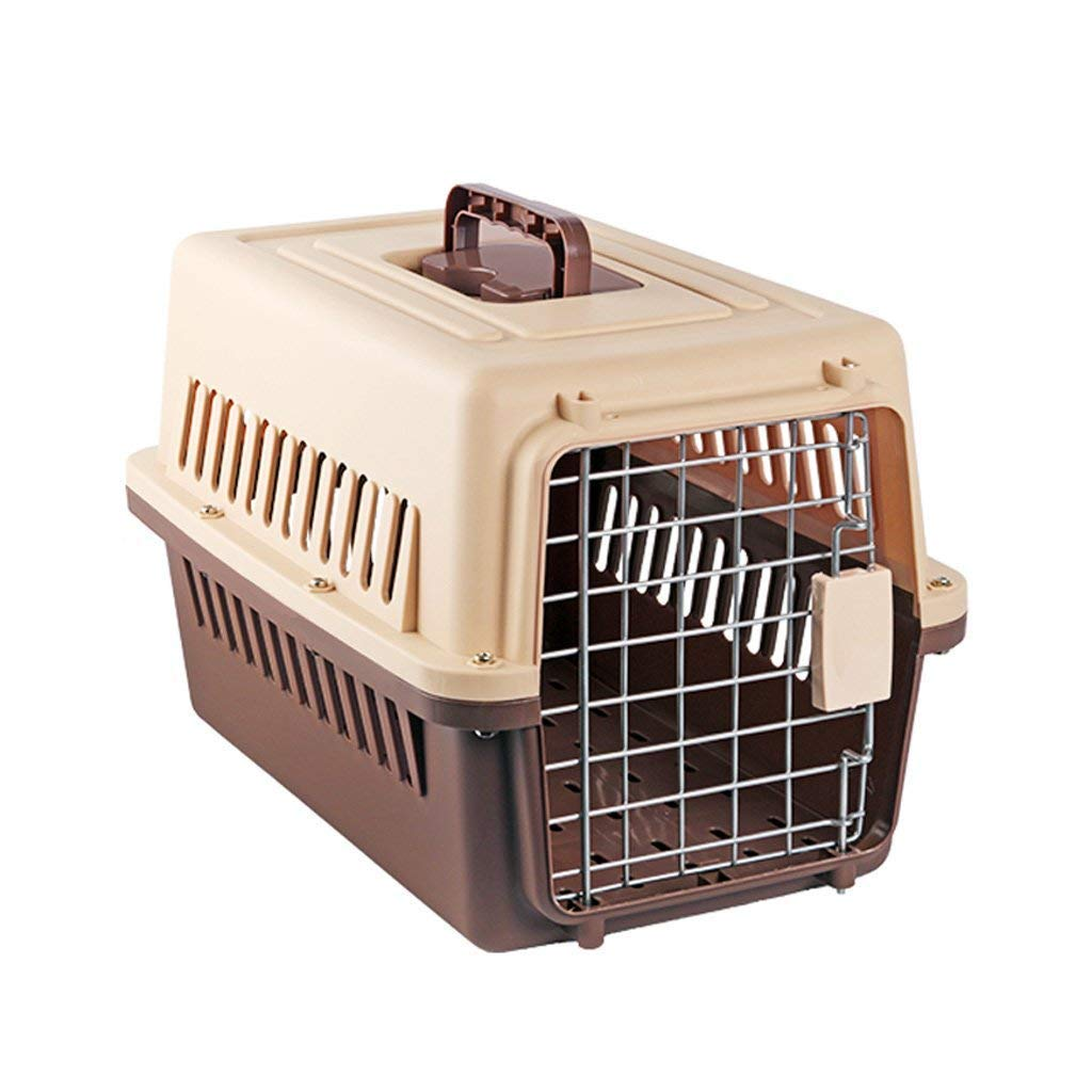 CHONGWFS Portable Brown Checked Dog cat Suitcase Supplies Travel Pet Shipping Air Box Outdoor Travel Pet Car Box