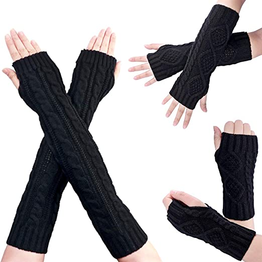 9bc682c4f 3 Pairs Women Winter Warm Cable Knit Arm Warmers Fingerless Gloves Hand  Crochet Thumb Hole Mittens