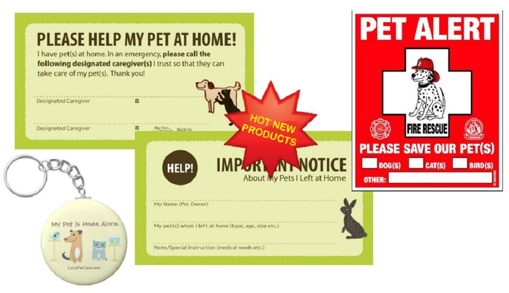 Pet Rescue Accessories Kit For All Pets - Choice of Sets Include - Pet Emergency Care Cards - Safety Alert Decals - My Pet is Home Alone Keychain - Essential Supplies & Gifts for all! by LBJ Personal Solutions
