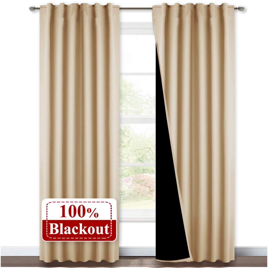 NICETOWN Living Room Completely Shaded Draperies, Privacy Protection & Noise Reducing Drapes for Laundry, Black Lined Insulated Window Treatment Curtain Panels (Biscotti Beige, 2 Pieces, W52 x L84)