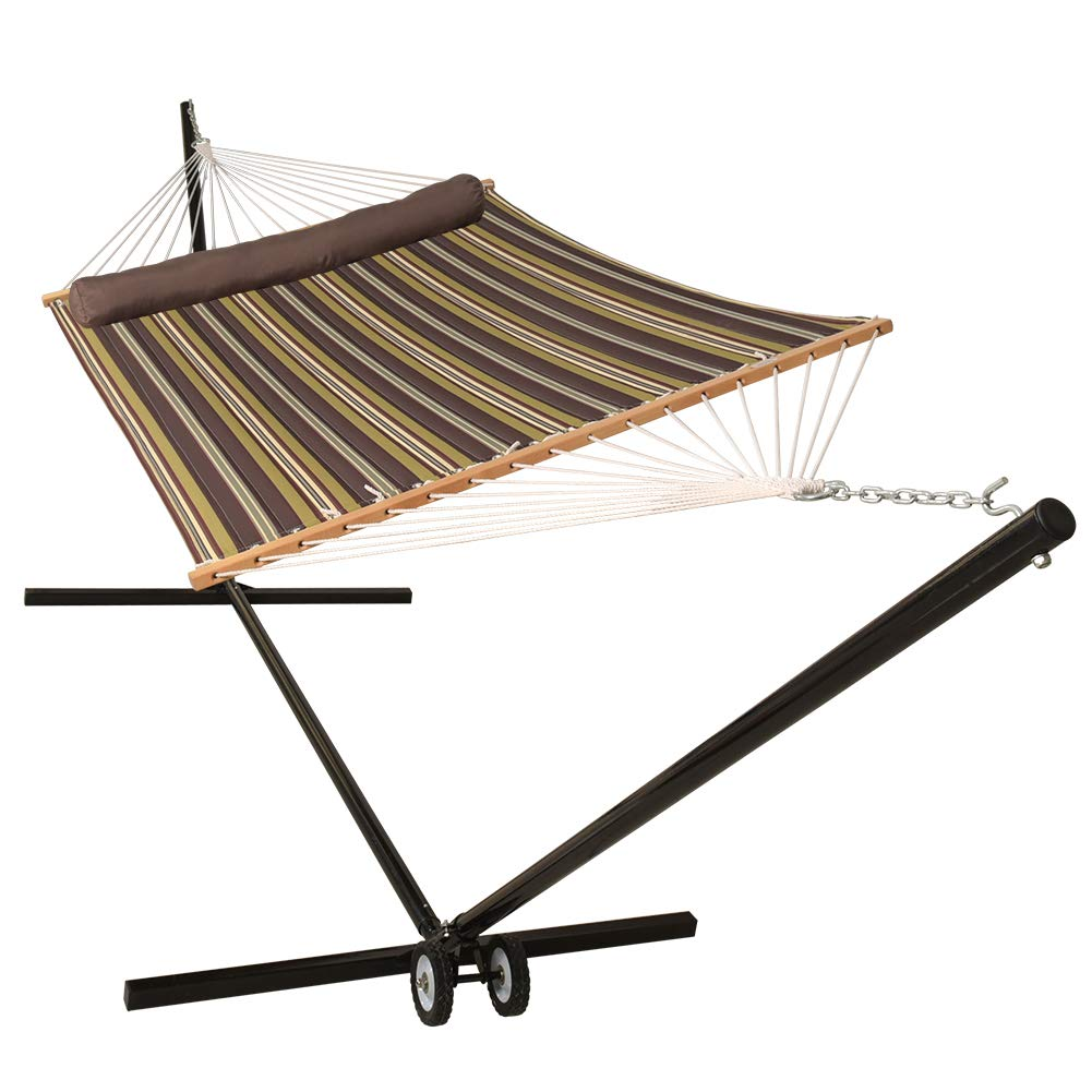 Lazy Daze Hammocks 15 Feet Heavy Duty Steel Hammock Stand with Wheel Two Person Quilted Fabric Hammock and Pillow Combo, Classic Brown Stripe