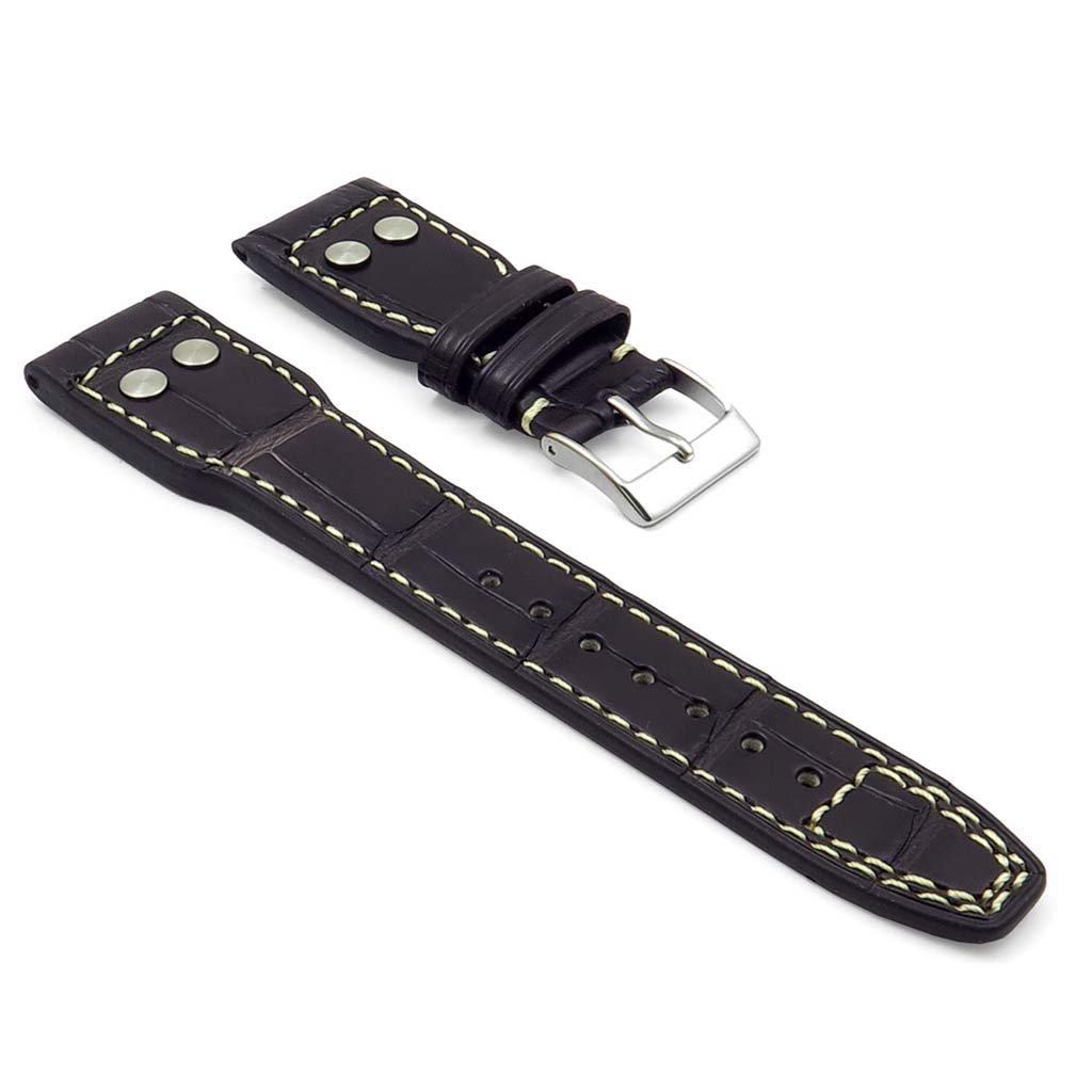 DASSARI スペシャルリザーブ 22mm 茶色 白 ステッチ 純正 ワニ皮 時計ストラップ/IWC ビッグ パイロット 時計用  B019G0KL9E