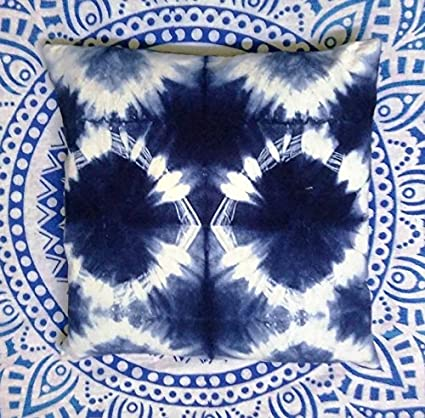 Amazon Com Indigo Pillow Tie Dye Cushions Decorative Cotton Throw