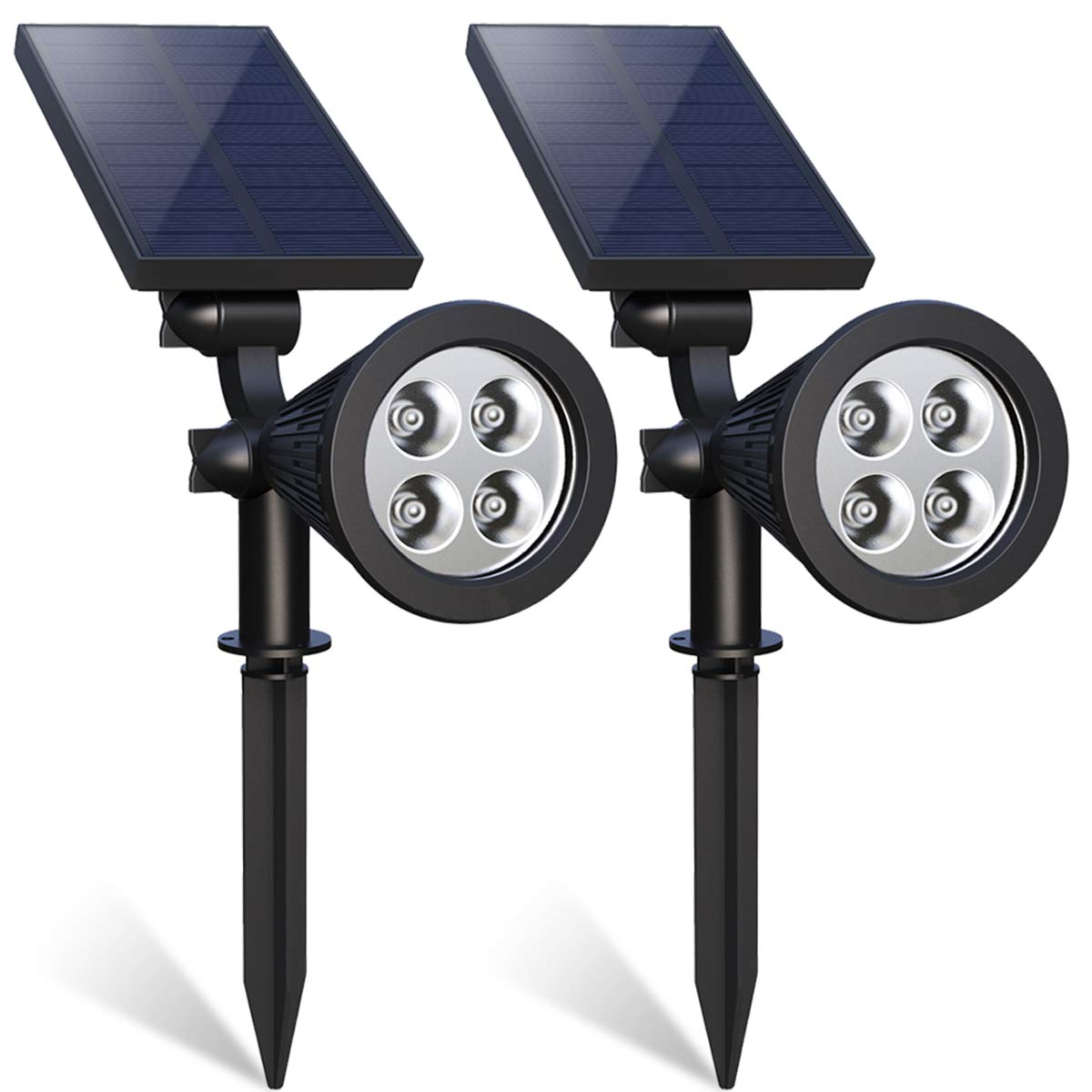 Solar Landscape Spotlight, 4-LED Bulbs Solar Landscape Lights 180 ° Adjustable Waterproof Outdoor Security Lighting 2-in-1 Wall Lights Auto On/Off for Backyard Driveway Patio Gardens Lawn Pool by Flowmist