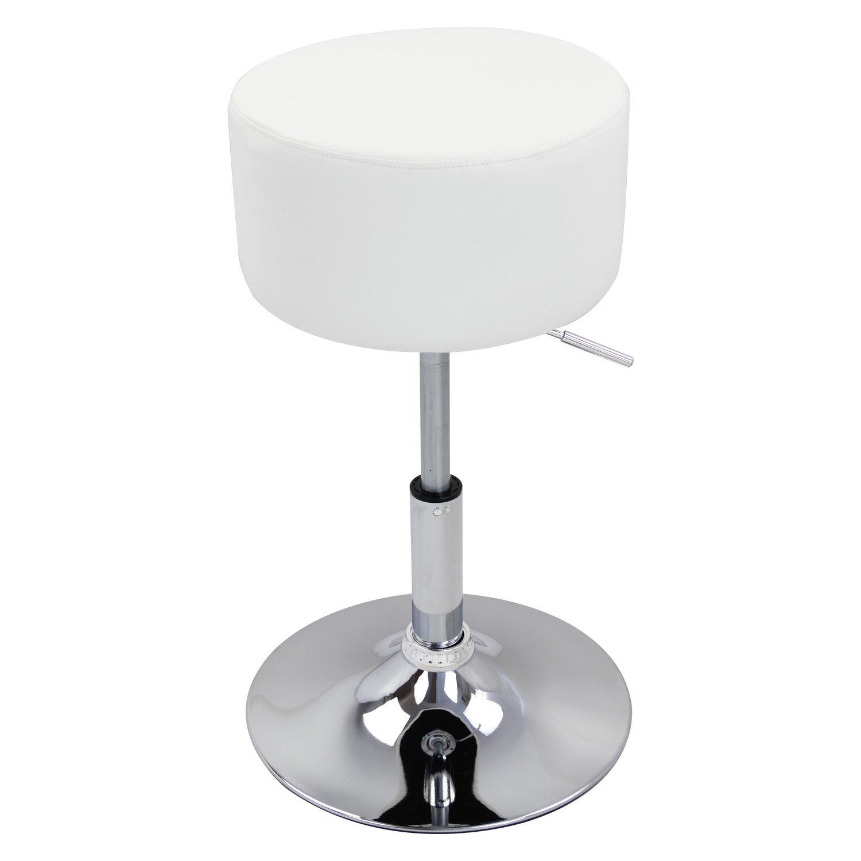 WOLTU/® BH14ws-1 Sgabello da Bar Sedia Cucina Senza Schienale Braccioli Seduta Imbottita Similpelle Cromato Altezza Regolabile Girevole Moderno Bianco 1 Pezzo