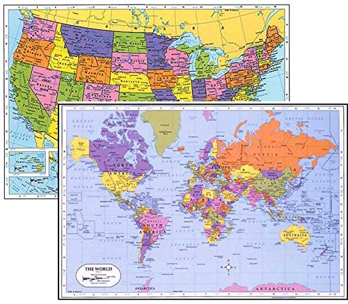 World Placemat + USA Placemat, Laminated Educational Placemats (2)